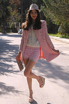 light pink romwe coat - white flower romwe sweater - neutral flower bag