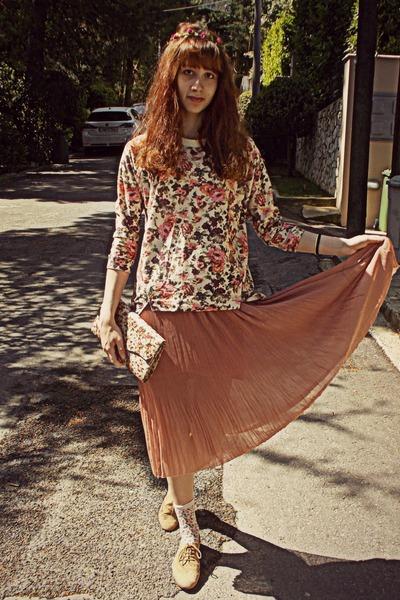 tan oxfords Topshop shoes - neutral floral bag