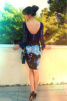 navy lace Zara dress - sky blue galaxy print romwe dress - navy vintage bag