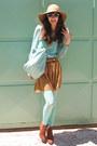 Aquamarine-tights-burnt-orange-boots-aquamarine-bag-aquamarine-sunglasses