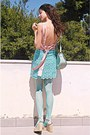 Light-pink-romwe-dress-aquamarine-tights-aquamarine-lulus-bag