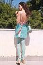 Light-pink-romwe-dress-aquamarine-tights-aquamarine-lulus-bag