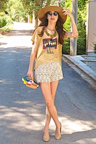 mustard the beatles romwe t-shirt - camel H&M hat - yellow submarine DIY bag