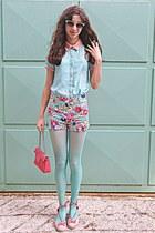 aquamarine floral romwe shorts - aquamarine OASAP shirt - salmon bag