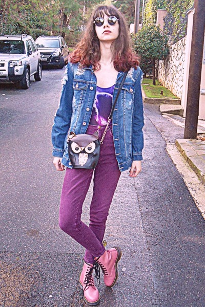 black owl bag - bubble gum OASAP boots - magenta high waisted jeans
