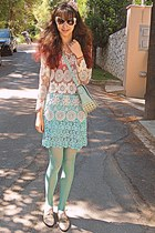 aquamarine crochet Zara skirt - ivory oxford lace Chicwish shoes