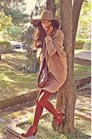 camel H&M hat - burnt orange H&M boots - nude Dorothy Perkins dress