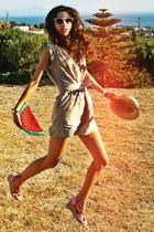 salmon wedges - beige straw hat - red watermelon DIY bag