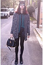 charcoal gray Stradivarius cardigan - black ear romwe hat - black Chicwish bag