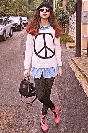 white peace sign romwe sweater - pink OASAP boots - black velvet romwe leggings