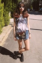 black owl bag - navy frayed denim romwe shorts - black romwe sunglasses