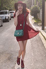 Maroon-boots-maroon-studded-stradivarius-dress-maroon-h-m-hat