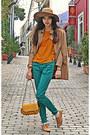 Camel-romwe-cape-camel-h-m-hat-mustard-lulus-bag-turquoise-blue-zara-pants