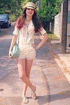 aquamarine romwe shorts - light yellow lace OASAP shorts - light yellow hat