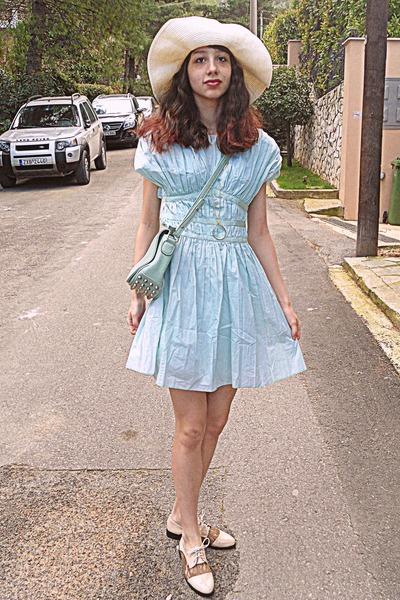 aquamarine ruched OASAP dress - aquamarine bag - cream oxfords Chicwish loafers