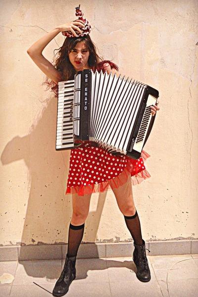 red polka dot AX Paris dress - black boots - black socks