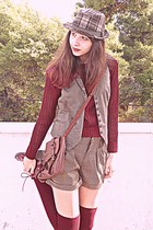 maroon boots - light brown plaid hat - maroon heart Pop Couture sweater