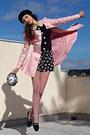 Black-beret-h-m-hat-light-pink-romwe-coat-black-clock-diy-bag-black-shorts