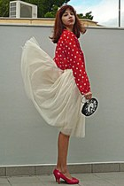 ruby red dots H&M blouse - black clock DIY bag - cream tulle Ebay skirt