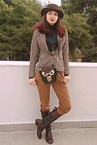 black owl bag - dark brown Tommy Hilfiger boots - dark brown romwe hat