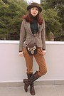 Dark-brown-tommy-hilfiger-boots-dark-brown-romwe-hat
