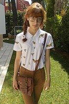 ivory moths polo pull&bear shirt - bronze pants - brown loafers