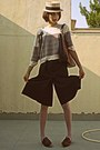 Eggshell-pull-bear-sweater-burnt-orange-d-g-bag-brown-culotte-shorts
