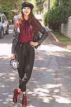 maroon boots - black diy beret hat - black leather VJ Style jacket