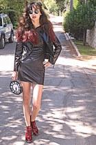 crimson boots - black Ax-Paris dress - black fascinator hat