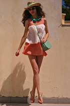salmon romwe dress - eggshell mint ribbon DIY hat - aquamarine lulus bag
