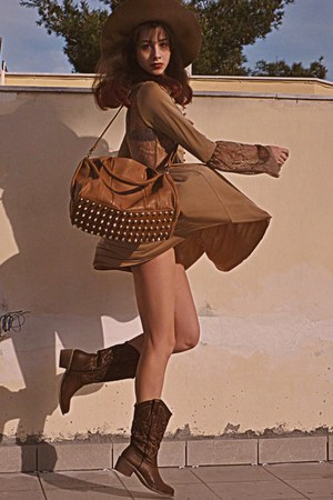 bronze Mimi Boutique bag - brown cowboy boots - camel rare london dress