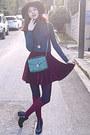 Maroon-velvet-romwe-skirt-black-studded-h-m-boots-maroon-h-m-hat-teal-bag