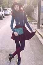 maroon velvet romwe skirt - black studded H&M boots - maroon H&M hat - teal bag