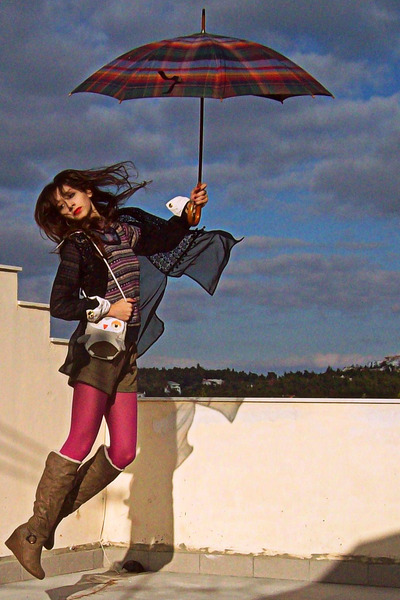 light brown boots - magenta new look tights - silver owl DIY bag