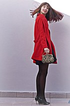 black dress - ruby red VJ Style coat - black tights - gold Ebay vintage purse