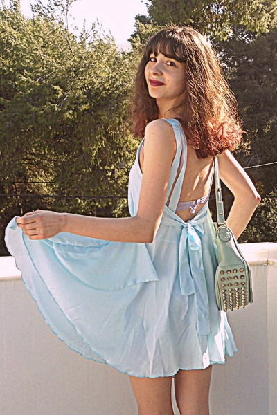 light blue romwe dress - aquamarine lulus bag