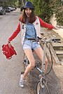 Red-baseball-cozbest-jacket-black-hat-sky-blue-chambray-shirt