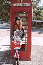 red union jack romwe leggings - black boots - black leather VJ-style jacket