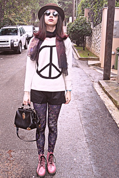white peace sign romwe sweater - pink OASAP boots