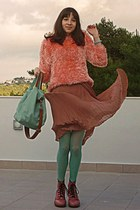 salmon fluffy romwe sweater - pink army OASAP boots - aquamarine tights