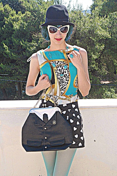 black suit bag - turquoise blue dress - black hat - aquamarine tights