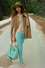 Nude-lace-zara-top-camel-h-m-hat-aquamarine-bag-camel-romwe-cape