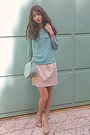 Aquamarine-bag-neutral-steve-madden-heels-eggshell-brocade-zara-skirt