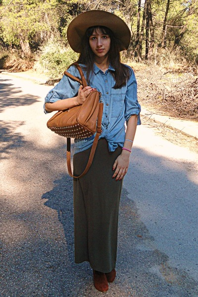camel H&M hat - brown H&M boots - sky blue denim Stradivarius shirt
