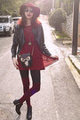 Black-studded-h-m-boots-maroon-studded-dress-maroon-h-m-hat-black-owl-bag