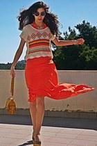 ivory crochet Chicwish top - carrot orange maxi asos dress - mustard bag