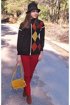 black vintage jumper - burnt orange H&M boots - black hat - mustard lulus bag