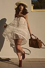 Ivory-lace-chicwish-skirt-burnt-orange-h-m-boots-ivory-hat-bronze-bag