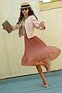 Light-pink-uterque-jacket-salmon-wedges-salmon-pleated-romwe-skirt