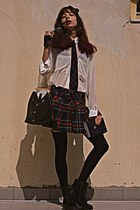 black suit VJ-style bag - black boots - ivory American Apparel blouse